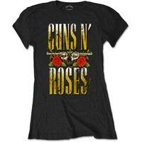 ガンズアンドローゼーズ (Guns N Roses)  Big Guns Ladies Black T Shirt