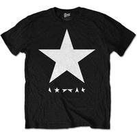 DAVID BOWIE MEN'S PREMIUM TEE: BLACK STAR (WHITE STAR ON BLACK)
