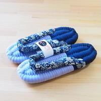 ふっくら布ぞうり/フラワー:ブルー 25〜28cm