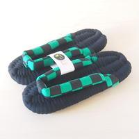 緑黒市松のふっくら布ぞうり/ S・M