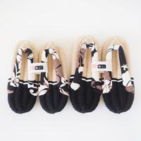 M&L ペア布ぞうり/ハワイアン/ベージュ&ブラック
