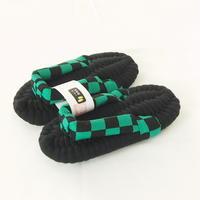 緑黒市松のふっくら布ぞうり:KIDS