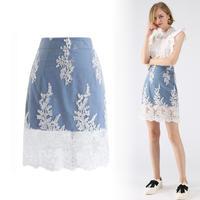 デリケート刺繍メッシュデニムスカート