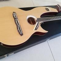 インパクト抜群!ハープギター(ソフトケース付き) アコースティック ダブルネック マホガニー 弦 電動 特殊