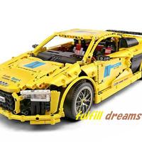 レゴ 互換品 アウディR8 V10 デザイン イエロー テクニック スーパーカー スポーツカー レースカー MOC クリスマス プレゼント レースカー 車 おもちゃ ブロック 知育玩具