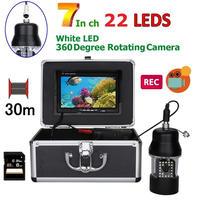 CCD 水中カメラ 釣りカメラ 360度回転 白色LED22灯 7インチモニター 30mケーブル GAMWATER 録画 SDカード付