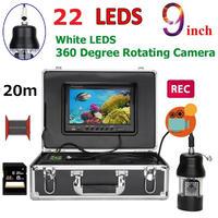 CCD 水中カメラ 釣りカメラ 360度回転 白色LED22灯 9インチモニター 20mケーブル GAMWATER 録画 SDカード付