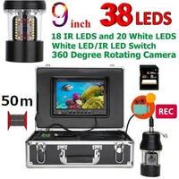 CCD 水中カメラ 釣りカメラ 360度回転 赤外線・白色LED38灯 9インチモニター 50mケーブル GAMWATER 録画 SDカード付