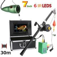 リール付き 釣竿カメラ 赤外線LED6灯 7インチモニター アルミ 水中カメラ 釣りカメラ 30mケーブル GAMWATER