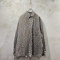 ●古着 リーフ 葉っぱ 総柄 長袖 柄シャツ