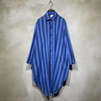 ●古着 ストライプ ロング丈 長袖 柄シャツ