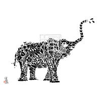 Elephant ゾウの墨絵