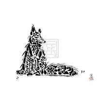 Fox キツネの墨絵