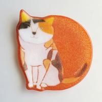 【水吉郁子】動物小皿 三毛猫 朱色(19037-CALICO CAT)