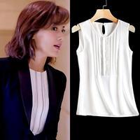 エレガント デザイン シャツ ノースリーブ 大きいサイズ 3色 0382