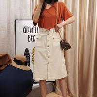 デニム ファッション スカート 大きいサイズ ポケット ボタン ミディ丈 ハイウエスト 0228