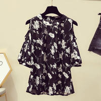 花柄 デザイン シャツ オープンショルダー 白 黒 2色選択 0116