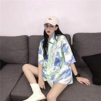 タイダイ 柄 シャツ ネクタイ ピンク グリーン 2色 0239