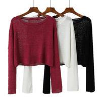 セーター シャツ ブラウス ショート 長袖 4色 0374