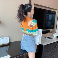 ストライプ 柄 Tシャツ 背中あき 五分袖 オレンジ 紫 2色 0151