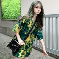 タイダイ 柄 Tシャツ 五分袖 アプリコット  グリーン 2色 0252