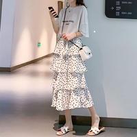 水玉 柄 スカート 白 黒 ミディ丈 ロング 2色選択 0026