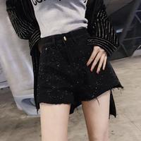 デニム 夏 パンツ ショート スパンコール 大きいサイズ 0260