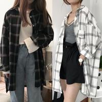 オーバーサイズ ファッション ジャケット シャツ チェック 長袖 大きいサイズ 白 黒 2色選択 0185