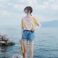 タイダイ 柄 Tシャツ 五分袖 グリーン イエロー オレンジ ピンク 4色 0249