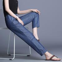 デニム 夏 パンツ ストレート 柔軟 涼しい アンクル丈 大きいサイズ 0112