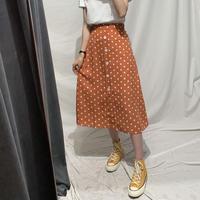 水玉 柄 スカート オレンジ ハイウエスト レトロ 0091