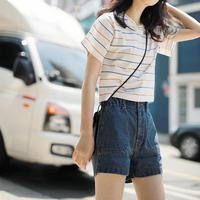 ストライプ 柄 Tシャツ 半袖 ラウンドネック ホワイト パープル ブルー 0173