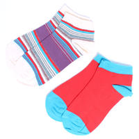 【S14-WSH-ES2】PACT/パクト-Women's Engineered Stripe Two-Pack Shorties-2足セット 靴下