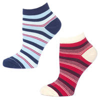 【F14-WSH-ST2】PACT/パクト-Women's STRIPED Two-Pack Shorties-2足セット 靴下