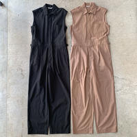 AURALEE - FINX HARD TWIST GABARDINE SLEEVELESS JUMPSUIT