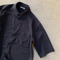 AURALEE MEN - HARD TWIST WOOL DOBBY HALF SLEEVED SHIRTS
