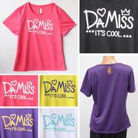 (DAMISS)【吸水速乾】 ハート&王冠Tシャツ ブラック / ホワイト / イエロー / ピンク / パープル MサイズLサイズLLサイズ
