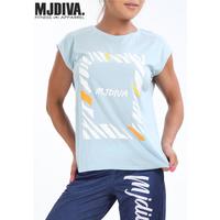 (MJ DIVA) ゼブラBOXワイドフレンチTEE  ブルー