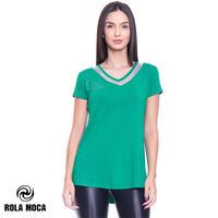(ROLA MOCA) ローラモサ ロングシルエット Vネック Tシャツ GREEN Sサイズ