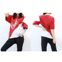 (BAWL)ボウル アシンメトリー バイカラー Tシャツ RED Sサイズ