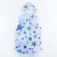 (NYLON APPAREL ) タイダイ 星柄 ノースリーブ フーディー WHITE/BLUE  Mサイズ