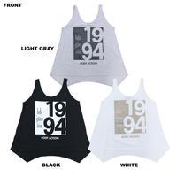 (BODY  ACTION)ラメ ロゴ ワイドシルエット タンクトップ BLACK LIGHT GRAY WHITE Sサイズ