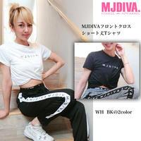 MJDIVA◆シンプルロゴフロントクロスショートTEE BLK WHY