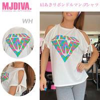 MJDIVA◆肩あきリボンドルマンTシャツWH
