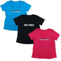 (ROLA MOCA) ラインストーン ロゴ Tシャツ BLACK PINK TURQUOISE Sサイズ  海外
