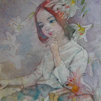有川利郎「花化粧」39.0×27.0cm Arikawa  Toshiro