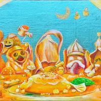 守屋麻美「七福神の晩餐」M6号 Moriya  Asami