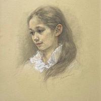 松本貴子「白のブラウス」37.5×27.5cm  Matsumoto  Takako