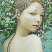 涼風会展 鯉江桃子「若葉の頃」 P3号  Koie  Momoko