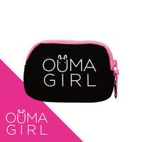 クッションポーチ「OUMAGIRL」ブラック&ピンク